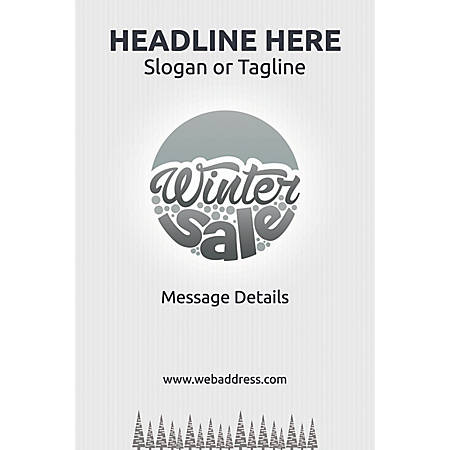 Adhesive Sign, Pine Trees in Winter, Vertical
