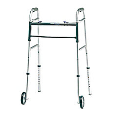"Invacare® Dual Blue-Release™ Walker, Adult w-5"" Wheels, Fits Users 5'4""-6'6"""