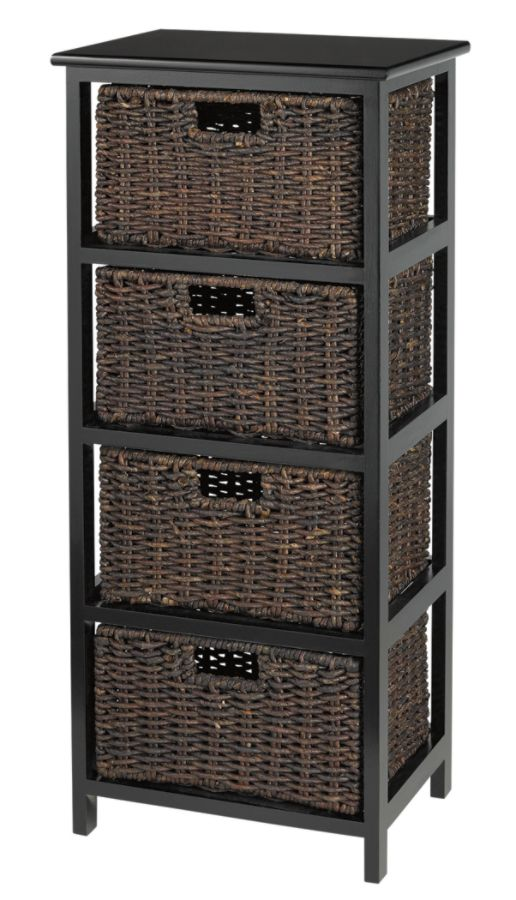 Realspace 4 Drawer Wood Storage Cabinet Black by Office Depot