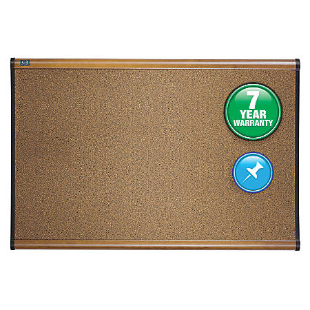 "Quartet® Select Prestige™ Color Cork Bulletin Board, Maple Finish Frame, 24""H x 36""W"