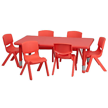 """Flash Furniture Plastic Height-Adjustable Rectangular Activity Table with 6 Chairs, 23-1/2""""H x 24''W x 48''D, Red"""