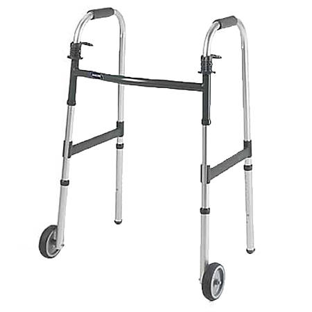 """Invacare® I-Class™ Dual-Release Paddle Folding Walker, Adult w-5"""" Wheels, Fits Users 5'6""""-6'6"""""""