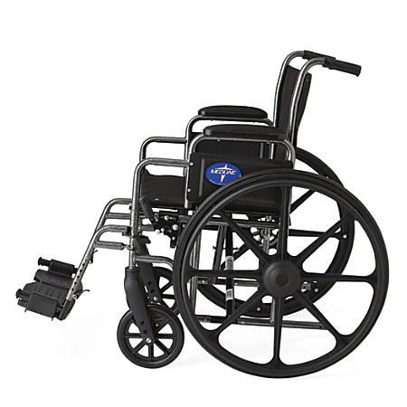 "Medline K1 Basic Wheelchair, Swing Away, 18"" Seat, Gray"