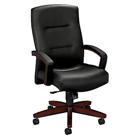 "HON® Park Avenue High-Back Leather Chair, 44 1/2""H x 26""W x 29""D, Mahogany Frame, Black Leather"