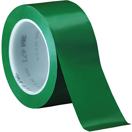 "3M™ 471 Vinyl Tape, 3"" Core, 2"" x 36 Yd., Green, Case Of 24"
