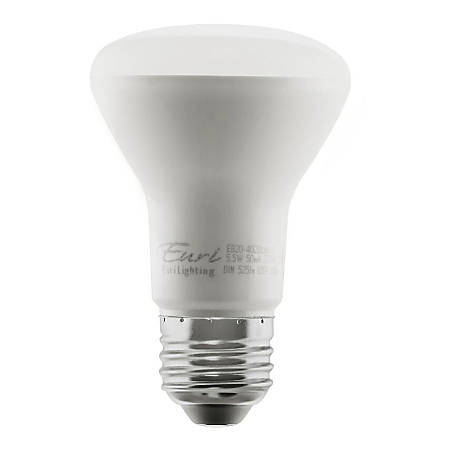 Euri BR20 Reflector Dimmable 525 Lumens LED Flood Bulbs, 5.5 Watts, 3000 Kelvin/Warm White, Pack Of 10 Light Bulbs