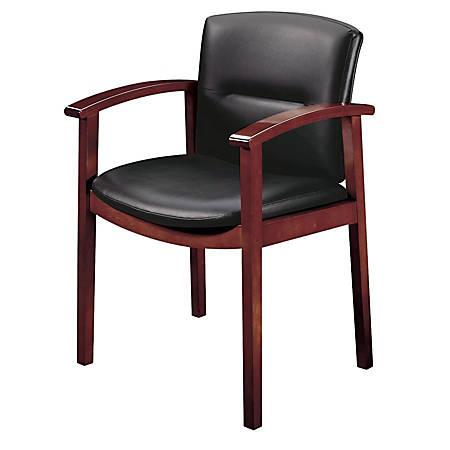 HON® Park Avenue Leather Guest Chair, Black/Mahogany
