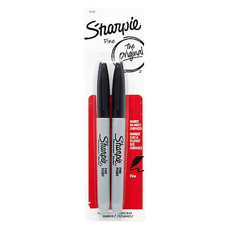 Sharpie® Permanent Fine-Point Markers, Black, Pack Of 2 Markers