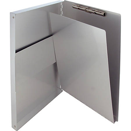 """Saunders Snapaks Form Holder with Storage Cmpartmt - 0.50"""" Clip Capacity - Storage for 30 x Sheet - Side Opening - 8 1/2"""" x 14"""" - Aluminum - Silver - 1 Each"""