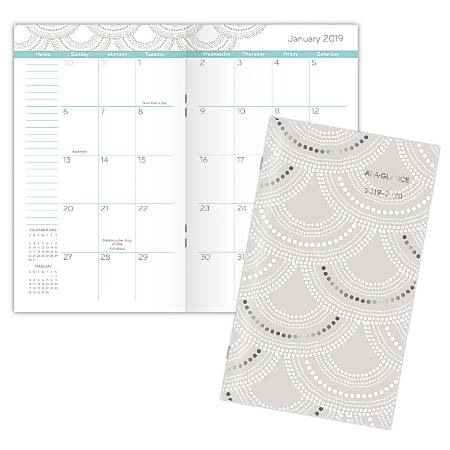 """AT-A-GLANCE® Serene Scallops 25-Month Pocket Planner, 3 5/8"""" x 6 1/16"""", January 2019 to January 2021"""