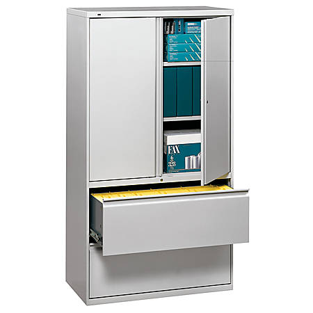 """HON® 800 Series Storage Cabinet With Lateral File, 36"""" Wide, Light Gray"""