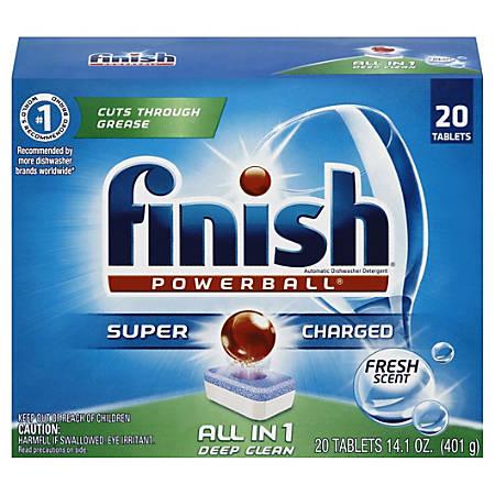 Finish® Powerball Dishwasher Detergent Tabs, Fresh Scent, Box Of 20