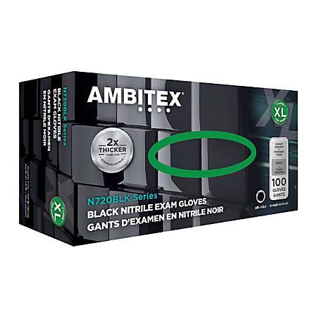 Ambitex® Disposable Powder-Free Nitrile Gloves, Exam, X-Large, Black, Case Of 1,000