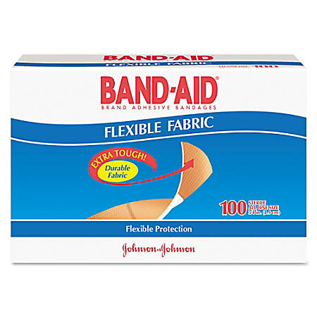 "Band-aid® Flexible Fabric Adhesive Bandages, 3"" x 3/4"", Brown, Box Of 100 Bandages"