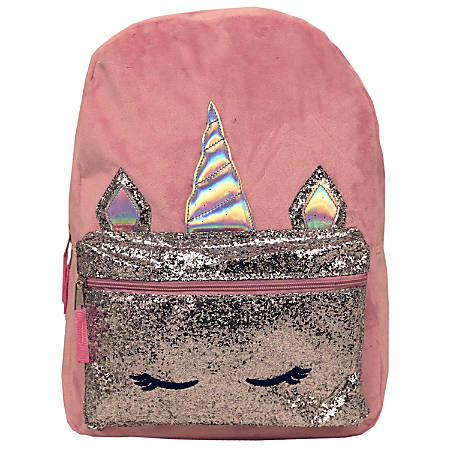 Unicorn Plush Backpack, Pink