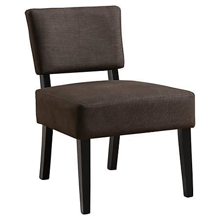 Monarch Specialties Armless Accent Slipper Chair, Dark Brown/Black