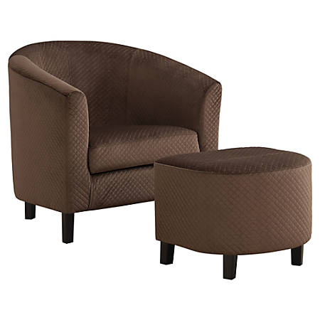 Monarch Specialties Accent Chair And Ottoman Set, Dark Brown Quilted/Black