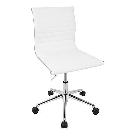LumiSource Master Faux Leather Contemporary Armless Adjustable Task Chair, White/Chrome