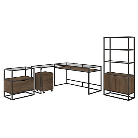 """Bush Furniture Anthropology 60""""W Glass Top L-Shaped Desk With Bookcase And File Cabinets, Rustic Brown Embossed, Standard Delivery"""