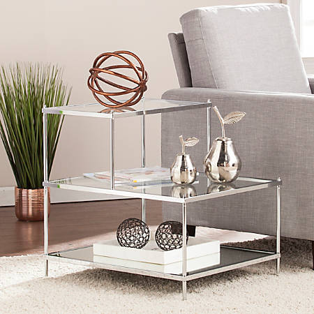 Southern Enterprises Knox Glam Mirrored Accent Table, Rectangular, Chrome