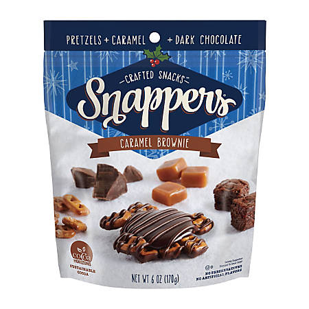 Snappers Caramel Brownie Pretzels, Pack Of 6 Bags