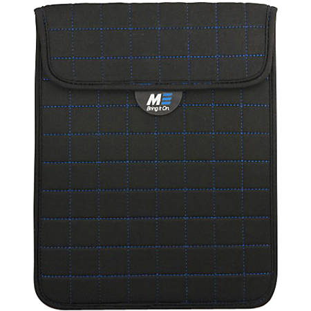 """Mobile Edge Neogrid Carrying Case (Sleeve) for 10"""" iPad - Black, Blue - Neoprene, Polysuede Interior - 10"""" Height x 8"""" Width x 0.5"""" Depth"""