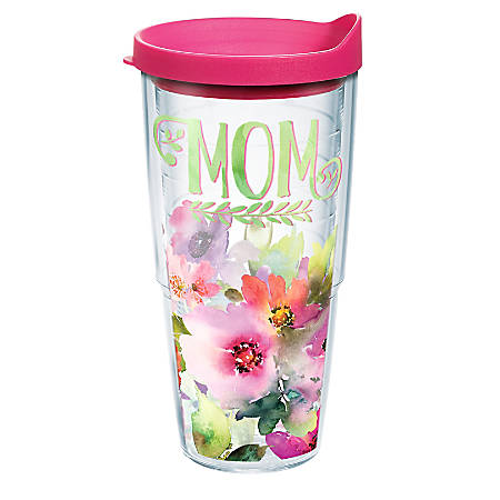 Tervis Mom Watercolor Floral Tumbler With Lid, 24 Oz, Clear