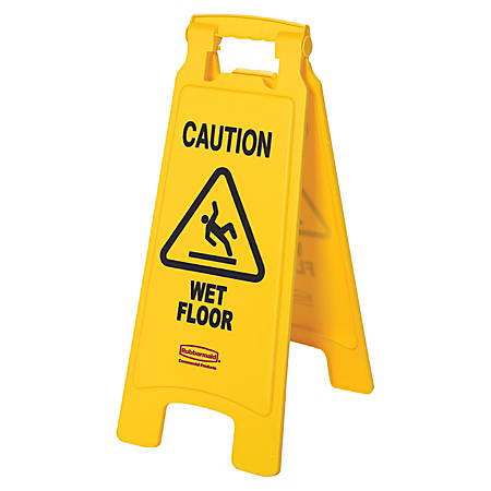 "Rubbermaid® Caution Wet Floor Safety Sign, 25"" x 11"", Yellow"