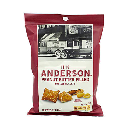 Anderson Peanut Butter-Filled Pretzel Nuggets, 5 oz, Pack Of 12 Bags
