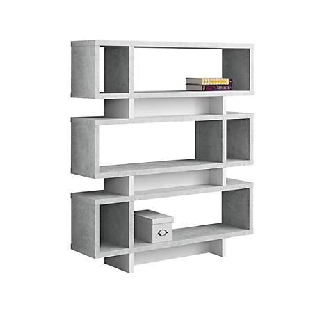 Monarch Specialties 3-Shelf Modern Bookcase, Gray Cement/White