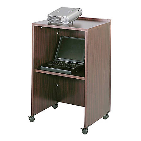 Safco® Lectern Base/Media Cart, Mahogany
