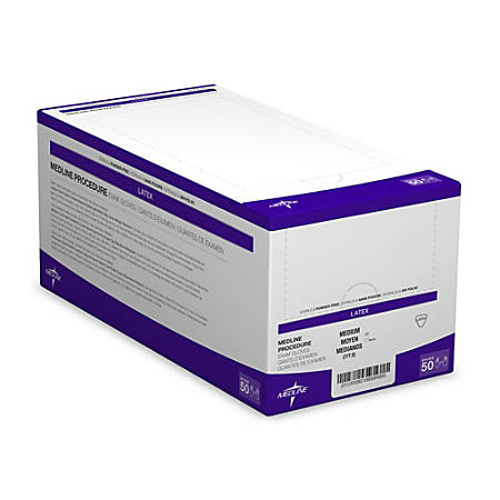 Medline Disposable Powder-Free Latex Exam Glove Pairs, Medium, Beige, Pack Of 200