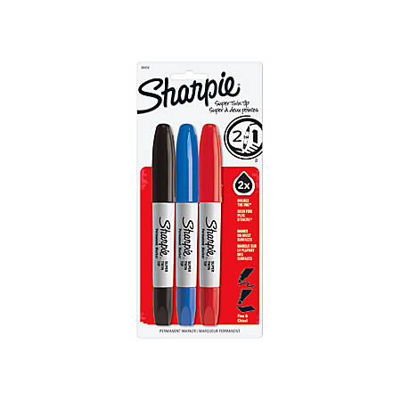 Sharpie Super Twin Tip Markers - Fine Marker Point - Chisel Marker Point Style - Assorted - 3 / Set