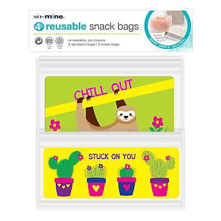 So Mine Reusable Sandwich And Snack Bags, Pack Of 4 Bags