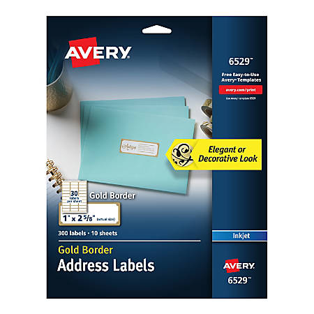 """Avery® Easy Peel® Address Labels With Border, 1"""" x 2 5/8"""", White/Gold, Pack Of 300 Labels"""