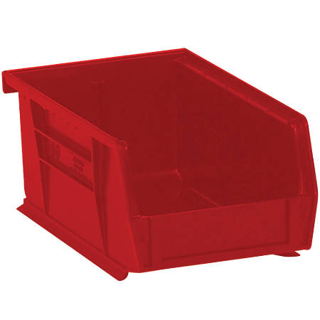 "Office Depot® Brand Plastic Stack And Hang Bin Boxes, 9 1/4"" x 6"" x 5"", Red, Pack Of 12"