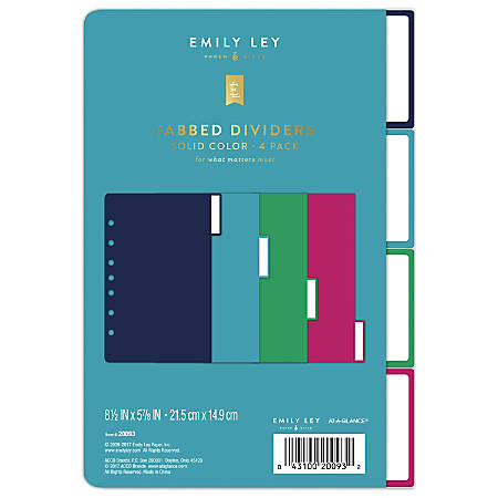 """AT-A-GLANCE® Emily Ley Simplified System Tabbed Dividers, 5 7/8"""" x 8 1/2"""", Solid Colors, Undated, Pack Of 4 Dividers"""