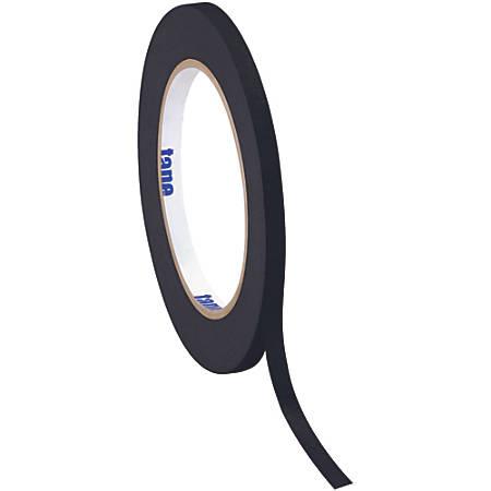 """Tape Logic® Color Masking Tape, 3"""" Core, 0.25"""" x 180', Black, Case Of 12"""