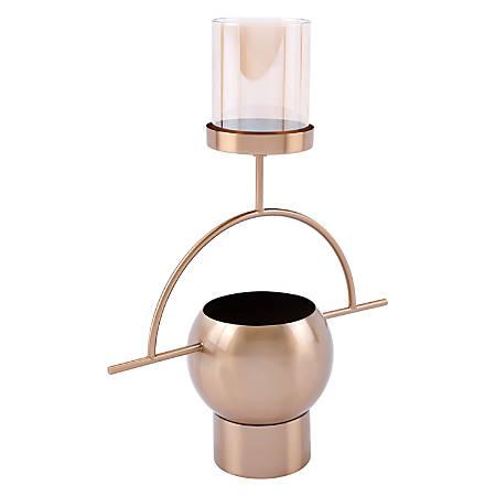 """Zuo Modern Candle Holder, 17 3/4""""H x 13 13/16""""W x 5 15/16""""D, Antique Brass"""