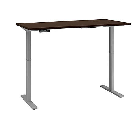 "Bush Business Furniture Move 60 Series 72""W x 30""D Height Adjustable Standing Desk, Mocha Cherry/Cool Gray Metallic, Premium Installation"