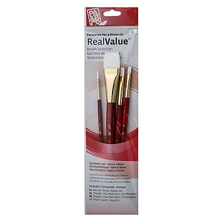 Princeton Real Value Series 9000 Red-Handle Brush Set 9125, Assorted Sizes, Assorted Bristles, Synthetic, Red, Set Of 4