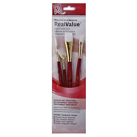 Princeton Real Value Series 9000 Red-Handle Brush Set 9120, Assorted Sizes, Assorted Bristles, Synthetic, Red, Set Of 4