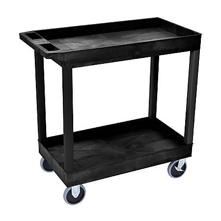 """Luxor E-Series 2-Shelf Tub Cart, 35 1/4""""H x 32""""W x 18""""D, Black"""