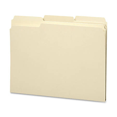 Smead® Top-Tab Water Resistant File Folders, Letter Size, 1/3 Cut, 30% Recycled, Manila, Box Of 100
