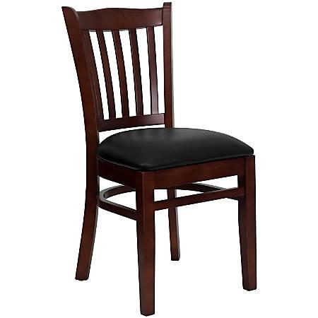 Flash Furniture HERCULES Vertical Slat Back Restaurant Chair, Black/Mahogany