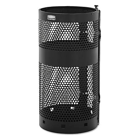 Rubbermaid® Commercial Towne Series Round Steel Pole-Mounted Waste Receptacle, 10 Gallons, Black