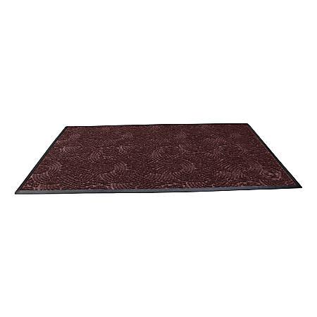 """Waterhog Plus Swirl Floor Mat, 48"""" x 96"""", 100% Recycled, Maroon"""