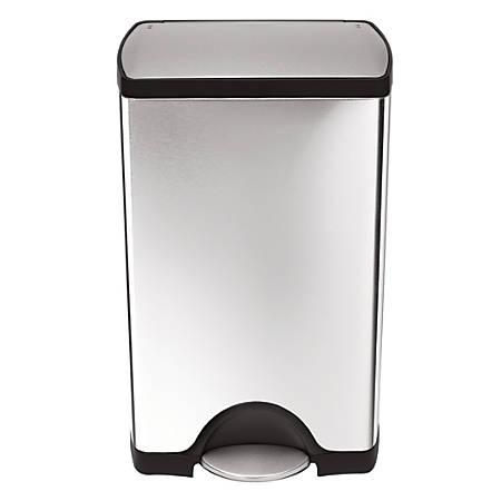 . simplehuman  Rectangular Step Trash Can  10 Gallons  Brushed Stainless  Steel Item   541083