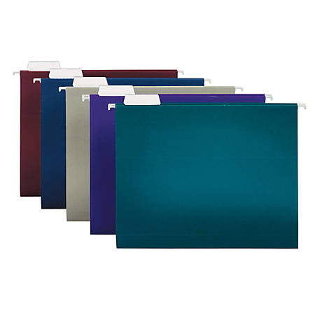 "Office Depot® Brand 2-Tone Hanging File Folders, 1/5 Cut, 8 1/2"" x 11"", Letter Size, Assorted Colors, Box Of 25 Folders"