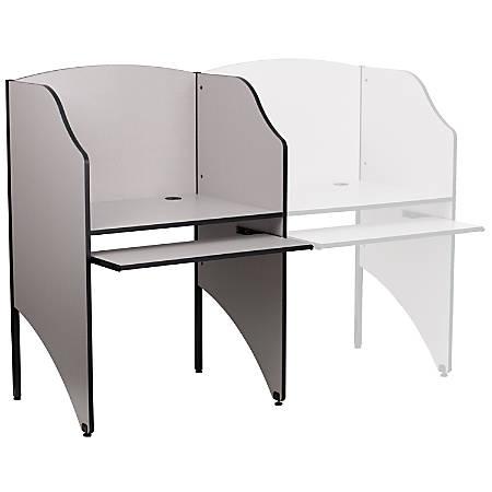 "Flash Furniture Starter Study Carrel, 49 5/8""H x 32 5/8""W x 24 7/16""D, Nebula Gray"